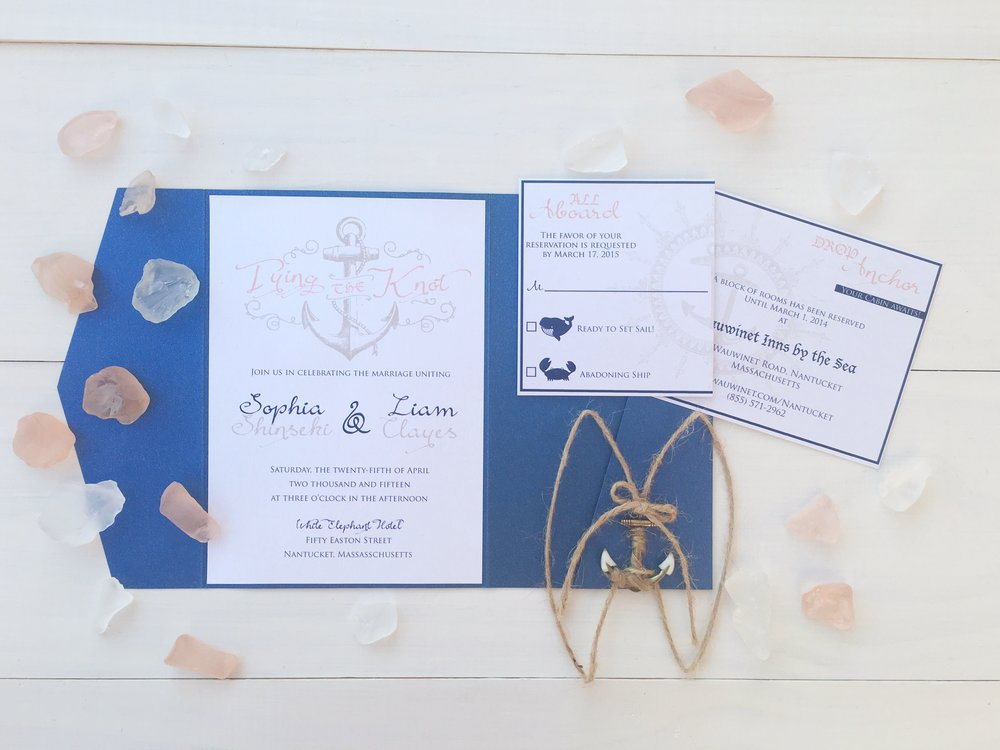 Central PA, York PA, JesSmith Designs, custom, wedding, invitations, bridal, announcements, save the date, baby, hanover, calligraphy, baltimore, wedding invitations, lancaster, gettysburg nautical blue anchor wedding invitation.jpg