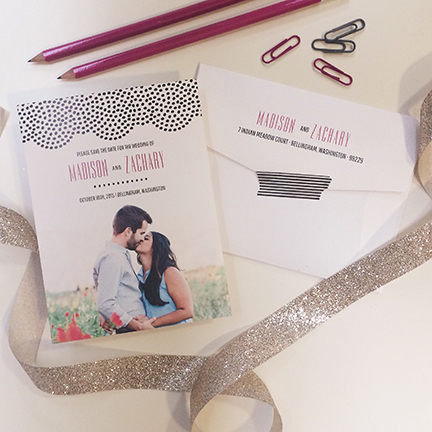 Central PA, York PA, JesSmith Designs, custom, wedding, invitations, bridal, announcements, save the date, baby, hanover, calligraphy, baltimore, wedding invitations, lancaster, gettysburg-e dotted modern picture save the date.JPG