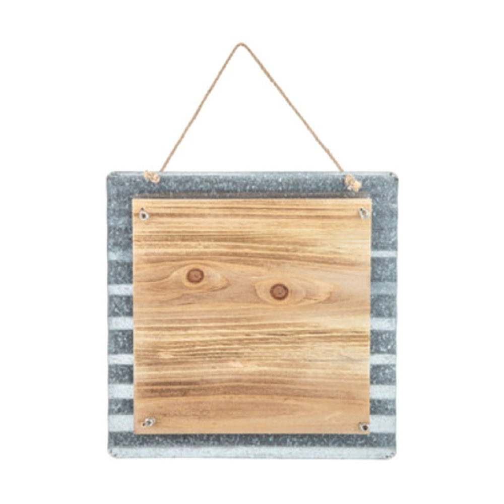 "11""x11"" Corrugated Metal & Wood"