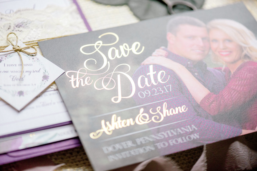 Premium, gold foil-pressed Save the Date Announcement. Photography by Krista Brackin Photography