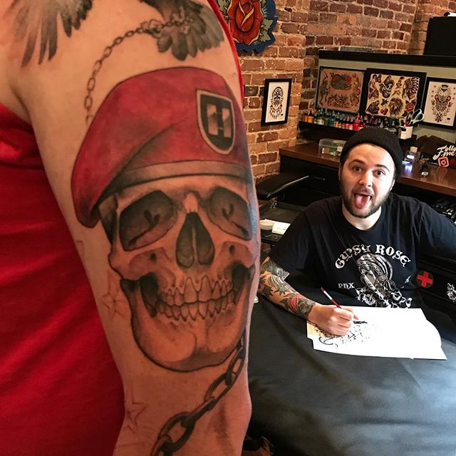 Got a good start on this military sleeve today. #safehousetattoo #nashville @safehousetattoo #militarytattoo #skulltattoo #getbusylivin