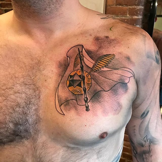 A deconstructed deathly hollows for one of my best clients @roughrugger . #safehousetattoo #deathlyhallowstattoo #literaryink