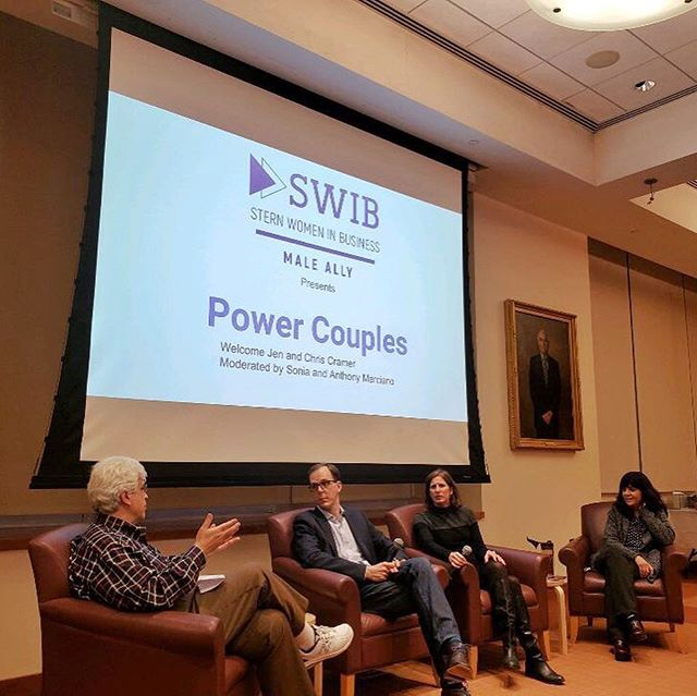 Last night, stern alumni and dynamic duo Jen and Chris Cramer shared their tips and tools for supporting each other while building their own successful careers. It was an enlightening discussion moderated by the Professors Marciano. Big thanks to SWIB Male Allies for organizing! #nyuswib #nyustern #powercouple