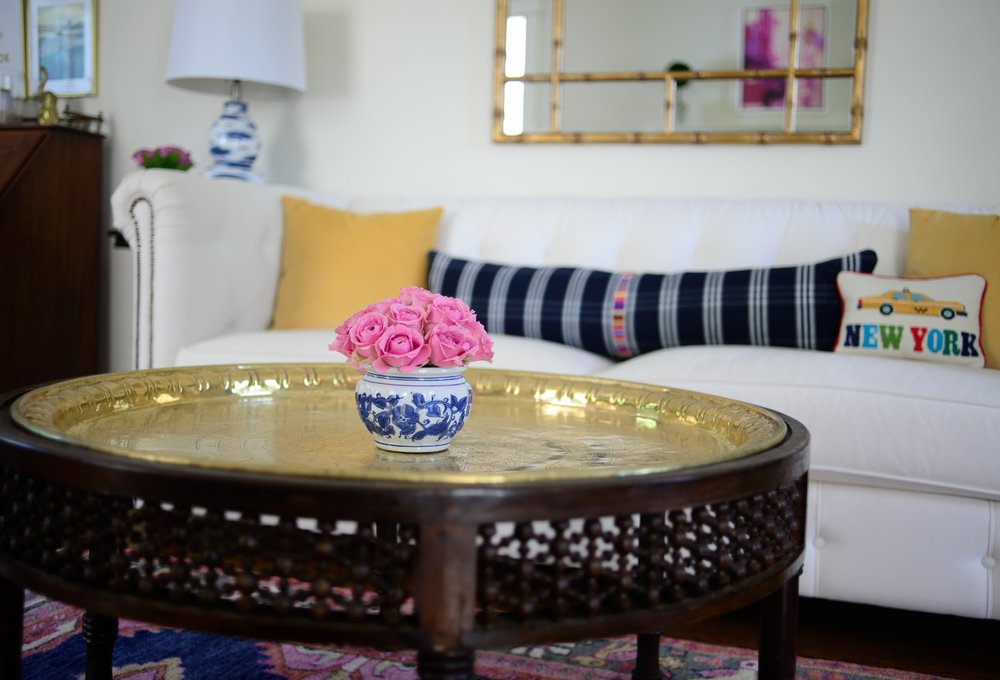 Our very unique brass coffee table is actually a family heirloom. More on my love of antiques to follow in a future post!