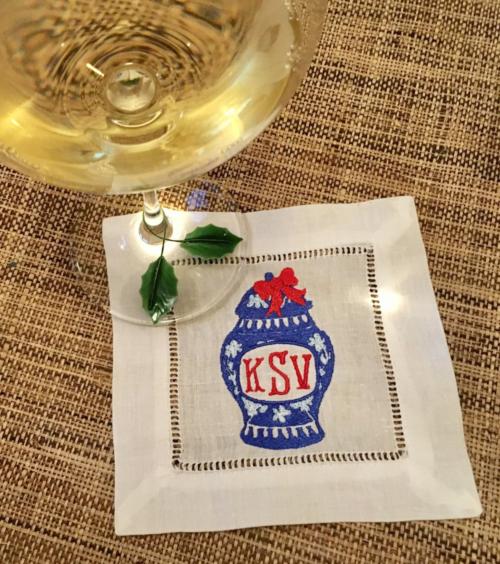I may have  had  to have some wine for the sake of this blogpost. The sacrifices I make for my art!   On a serious note, how adorable are these cocktail napkins?!?