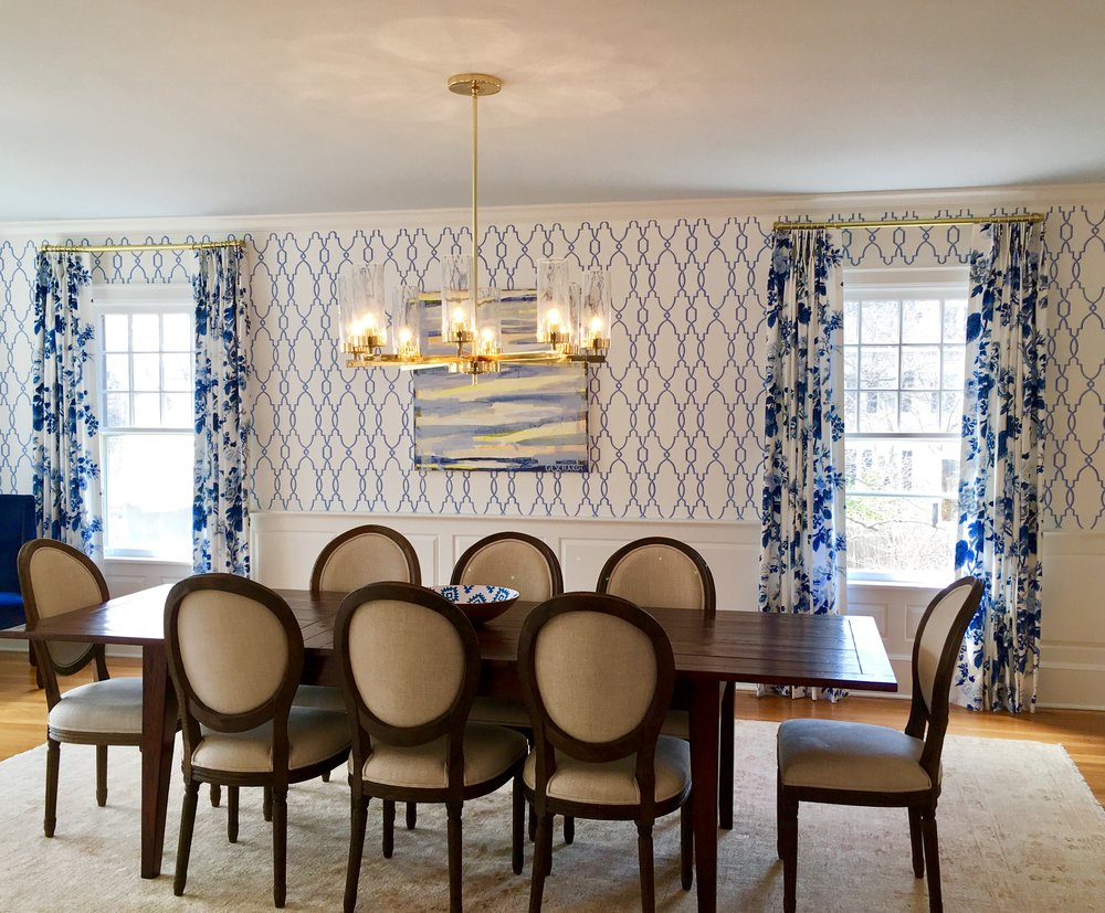Blue and White Dining Room Modern Traditioal