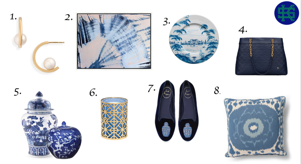 1. Pearl Earrings   ,    2. Abstract Art   ,    3. Hand Painted Plate   ,    4. Quilted Handbag   ,    5. Ginger Jar Tall,     Ginger Jar Short   ,    6. Fretwork Candle    ,    7. Ginger Jar flats    ,    8. Ikat Pillow