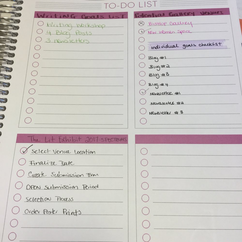 At the end of each month, I have these checklist pages added in! I usually label them and use each to specify a subset of things pertaining to one large goal. For example, you can see the series of steps that go into organizing my next writing gallery!