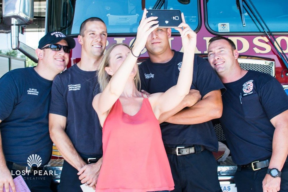 Selfie time with some of the wonderful fireman on National Ice Cream day! See our past events for photos!