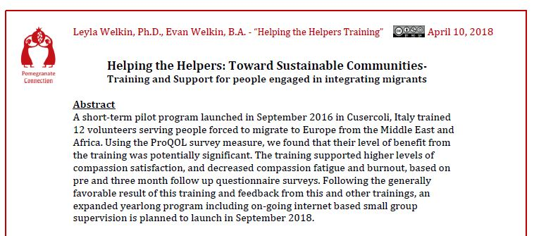 Read the report from the 2016 Helping the Helpers Training - click on the photo to open the report in a new window.
