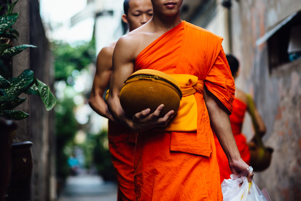 Walking-Monks-Anonymous-Orange-Robes-Basket-Tradition-Thailand-Daniel-Durazo-Photography