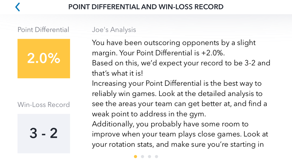 Point Differential Wizard Screen, GMS Stats app