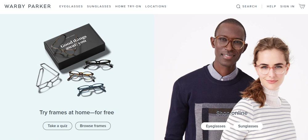 Warby Parker(ワービー・パーカー)ウェブサイト