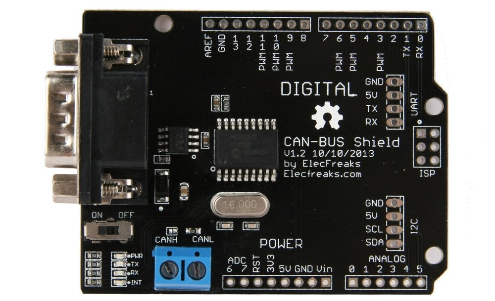 The ElecFreaks CAN-BUS Shield uses a Microchip MCP2515 CAN Controller with an SPI Interfacewith an MCP2551 CAN Transceiver.