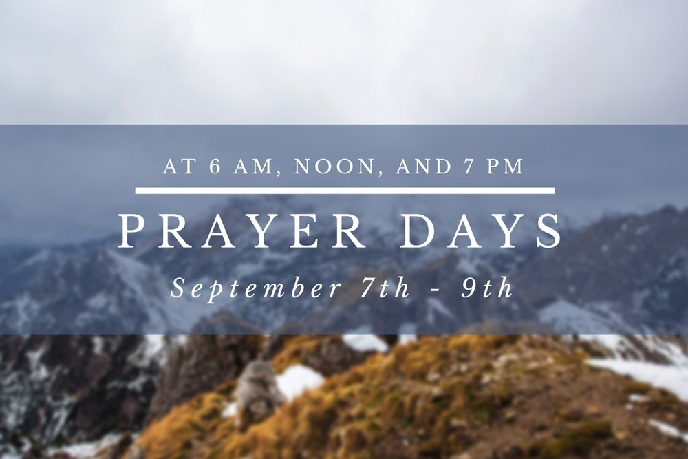 If you would like the opportunity to draw into His presence, join us for Prayer Days!