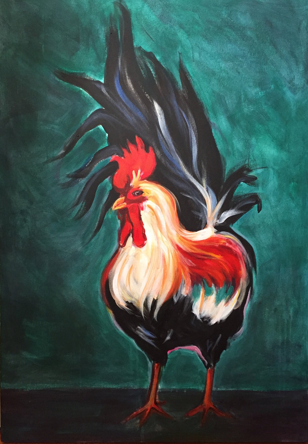 "Rooster 26"" x 36"", acrylic on canvas"