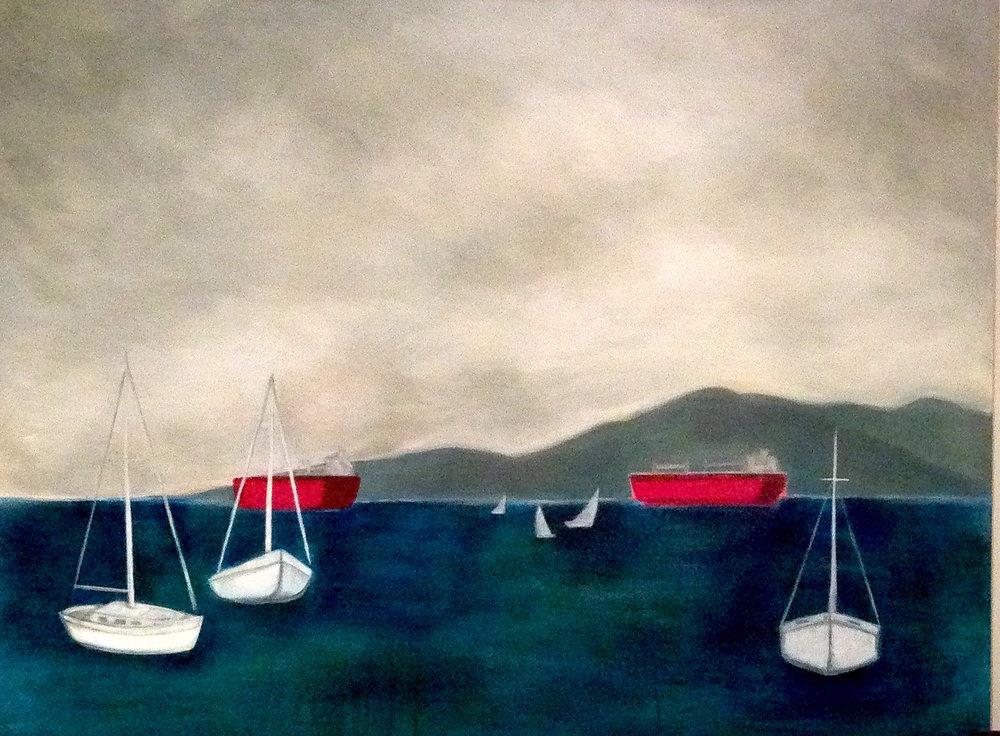 "Boats 48"" x 60"", acrylic on canvas"