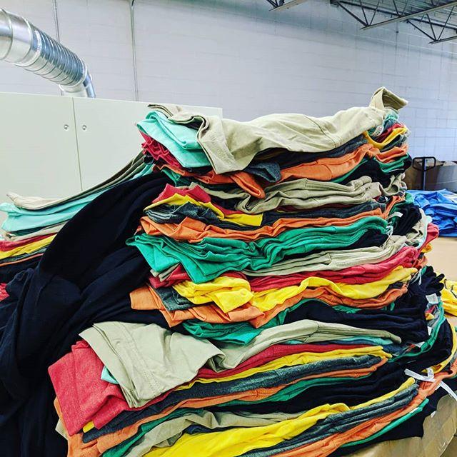 Wide range of #tshirt colors.  #teeshirt #illustrator #photoshop #printmaking #layers #texture #process #studio #garmentmanufacturer #manufacturing #instagood #apparelmanufacturing #apparelmanufacturer #apparel #artanddesign #tshirtprinter #roqtheprint #screenprinting #customtshirts #printlife #Indiana #indytees #indyscreenprinter #indianapolis #multicolor
