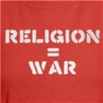 religion equals war pacifist and atheism t-shirts and gifts