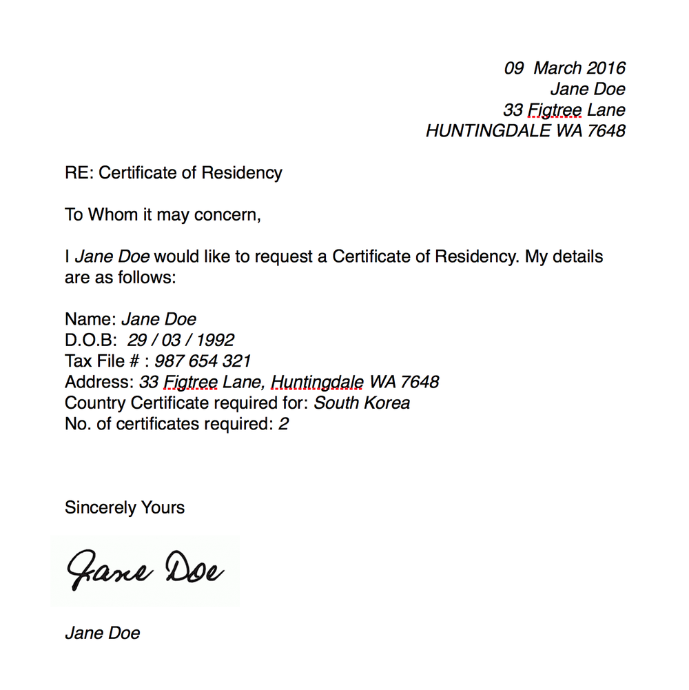 Certificate Of Residency The Model Life