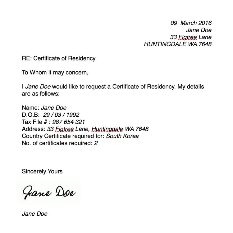 Certificate of residency millicent lambert certificate of residency templateg yelopaper Gallery