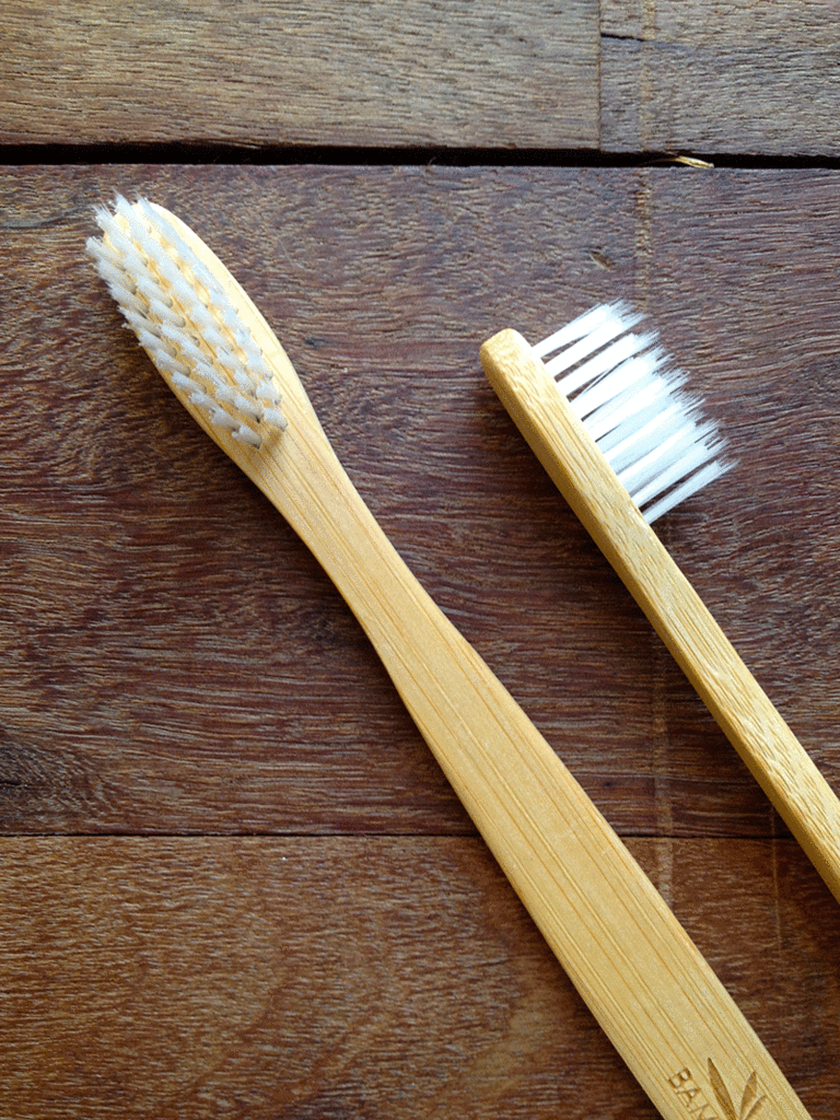 I use a bamboo wooden toothbrush. They are natural, antibacterial and biodegradable. (The number of toothbrushes that end up in landfill each year is alarming.)