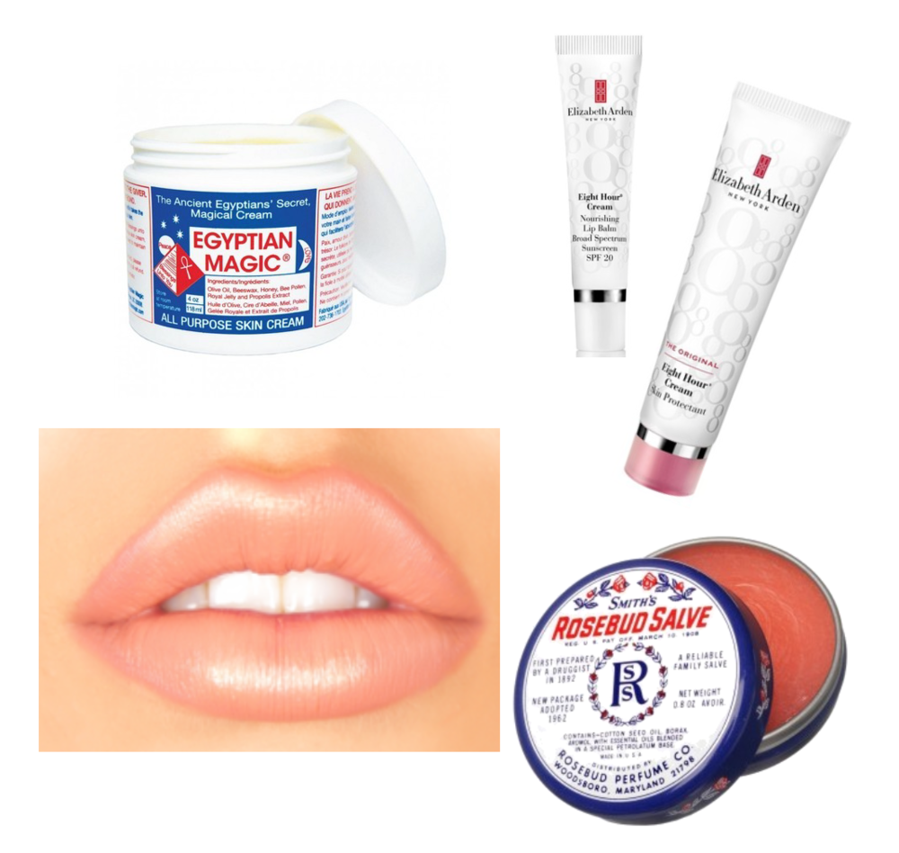 A few of my favourite lip treatments, that I often find Makeup Artists using : Elizabeth Arden 8 hour cream, Smith's Rosebud Salve & Egyptian Magic.