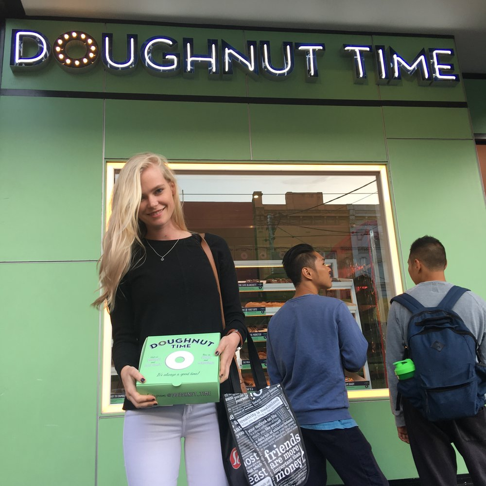 Here I am standing out the front of the Chapel Street doughnut boutique holding my box of goodies!
