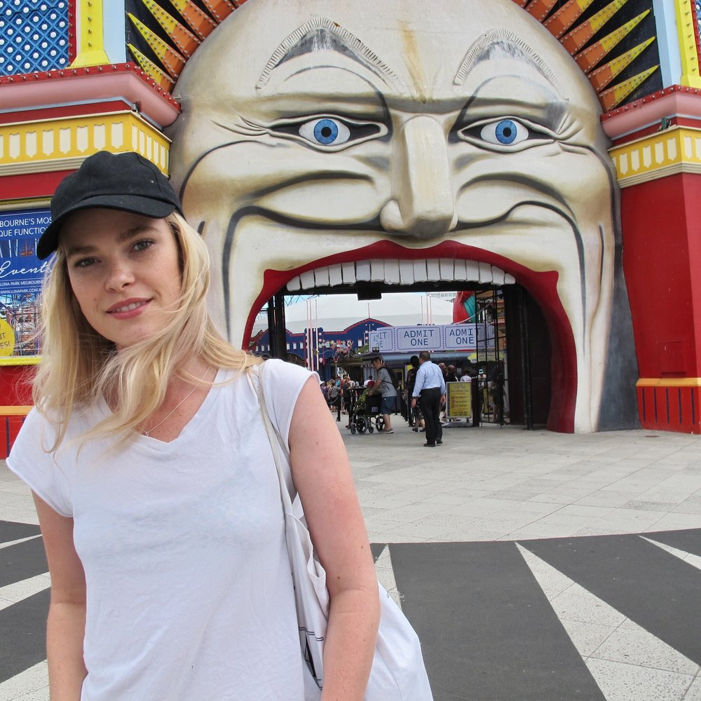 Out the front of Luna Park, St Kilda.