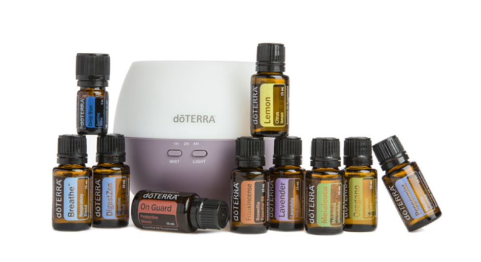 HOME ESSENTIALS ENROLLMENT KIT   PRICE: $275 Wholesale ($366.67)  PRODUCTS:  Frankincense ,  Lavender ,  Lemon ,  Melaleuca ,  Oregano ,  Peppermint ,  doTERRA Breathe® ,  DigestZen® ,  doTERRA On Guard® ,  Deep Blue® (5 mL),  Petal Diffuser   This is a great introductory kit that contains 15mL bottles of the most popular ten oils and a diffuser.