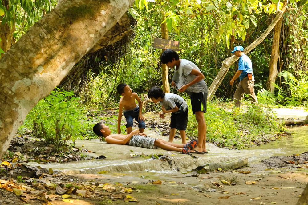 Chiang Mai Thailand Sticky Falls Bua Thong kids