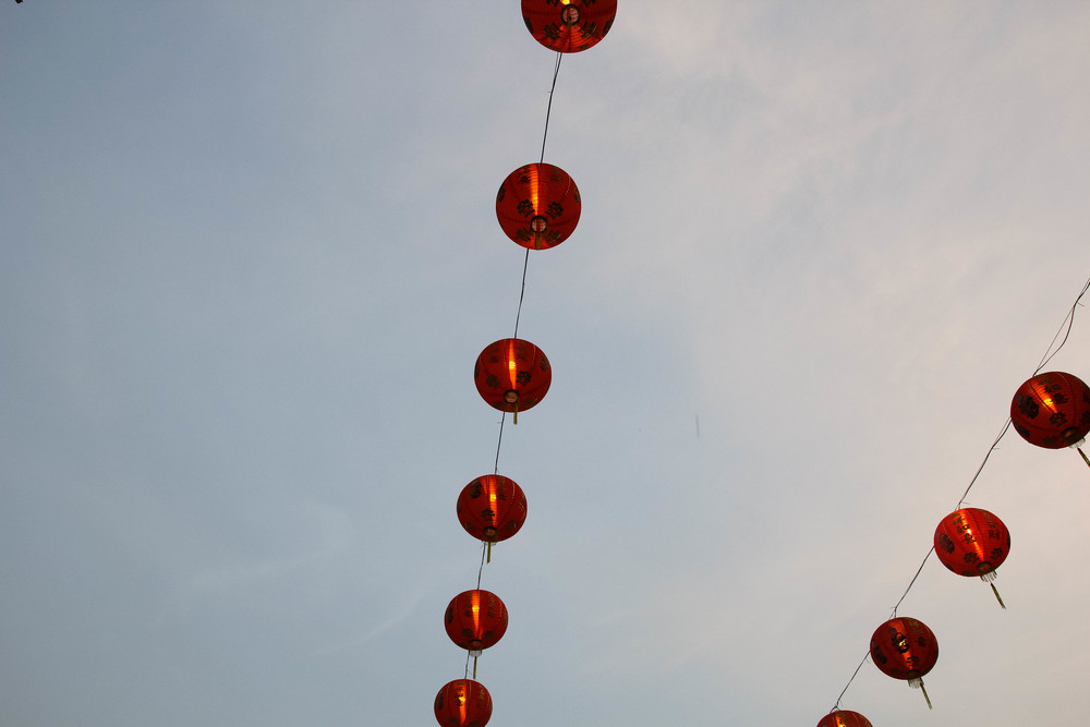 Chiang Mai Thailand Chinese lanterns temple wat sky red