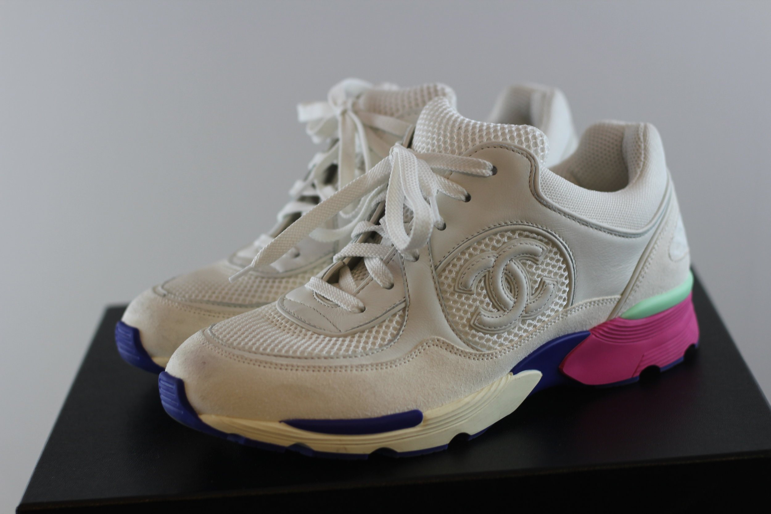 Chanel CC White Trainer Sneakers