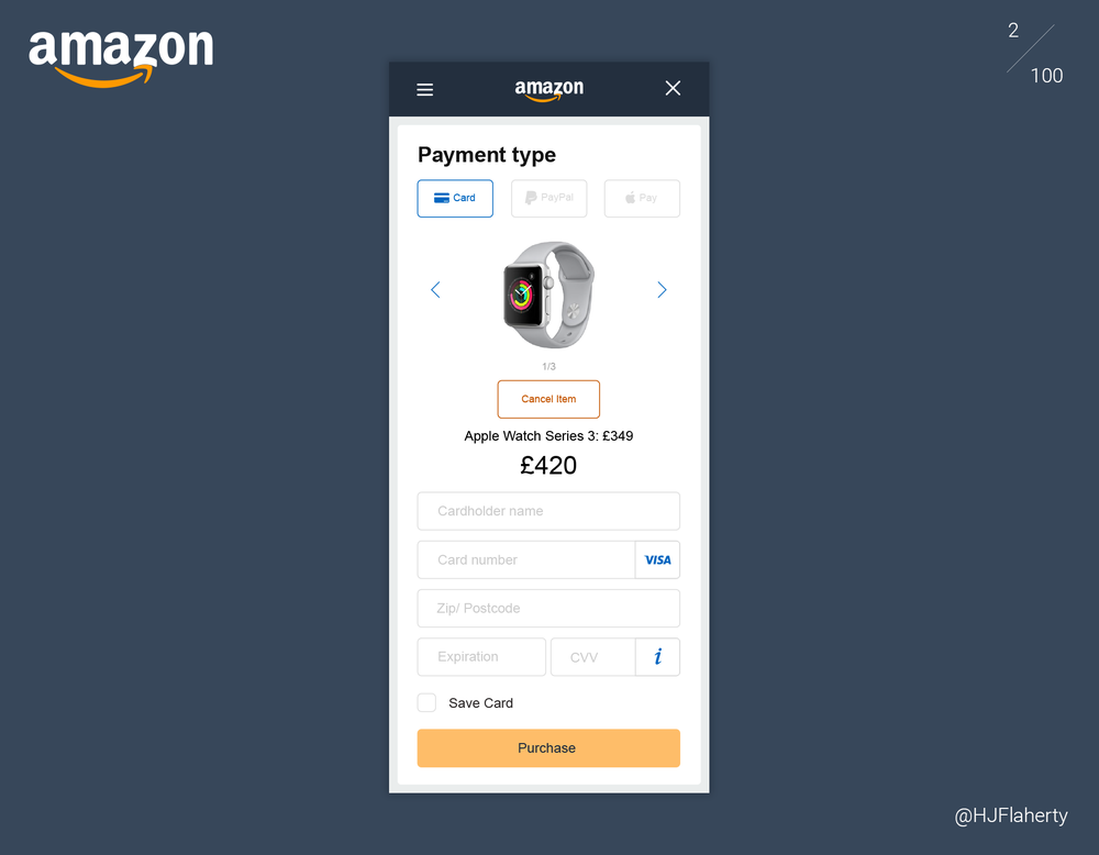 UI Daily Challenge 2 - Credit Card Checkout - The second challenge was to Design a credit card checkout form or page. Which should include elements such as card numbers, dates, security numbers.I had redesigned Amazon.co.uk's checkout page which would show products bought, product price, total price and any other additional elements that needed to be included. This would make it easier for the user to have an overview before purchase.