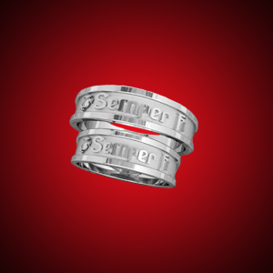 Marine Corps Traditional Semper Fidelis 14KT White Gold Mens Wedding Rings