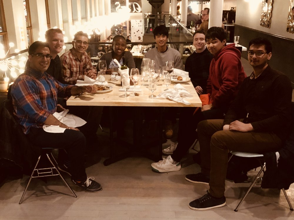 The group enjoying a night out.  Pictured (left-to-right): Ashwin, Matt, Saman, Nancy, Isaac, Ron, Insung, and Aniket.  Taken winter 2018.