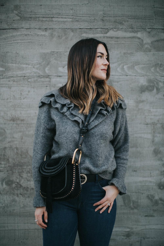 purse  Chloé  | sweater  Zara  | belt  Gucci  +  Intermix  | jeans  Frame