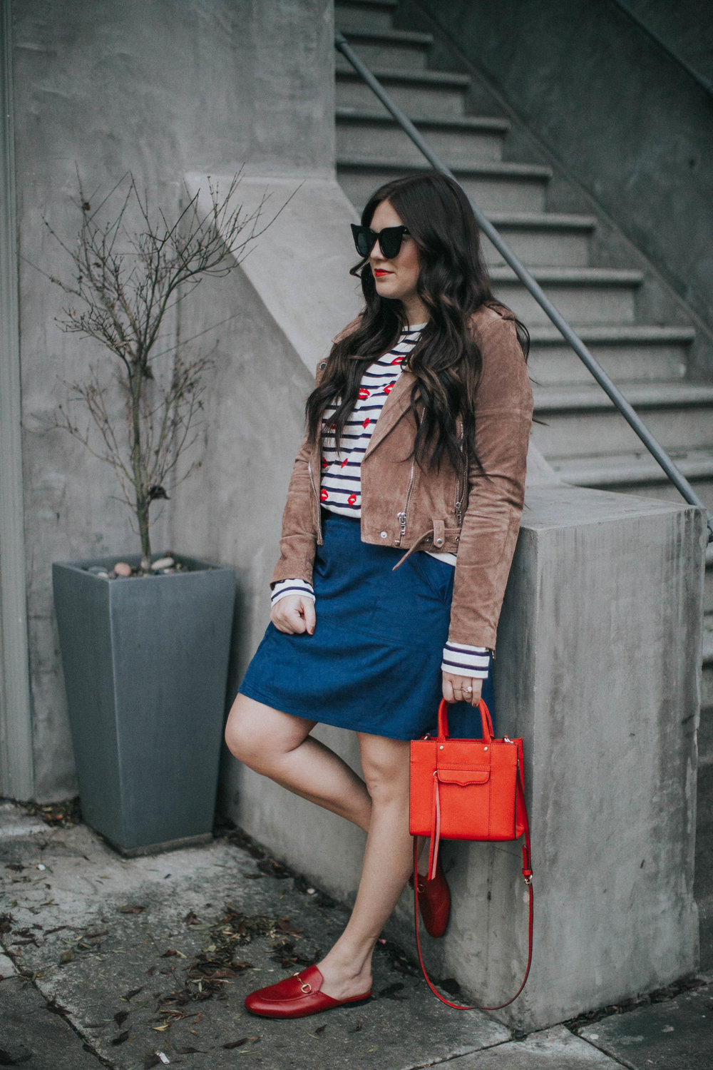 tee  JCrew  | jacket  Blank NYC  | skirt  Ruti  | loafers  Gucci  | bag  Rebecca Minkoff  | sunnies  Le Spec  | lipstick  MAC