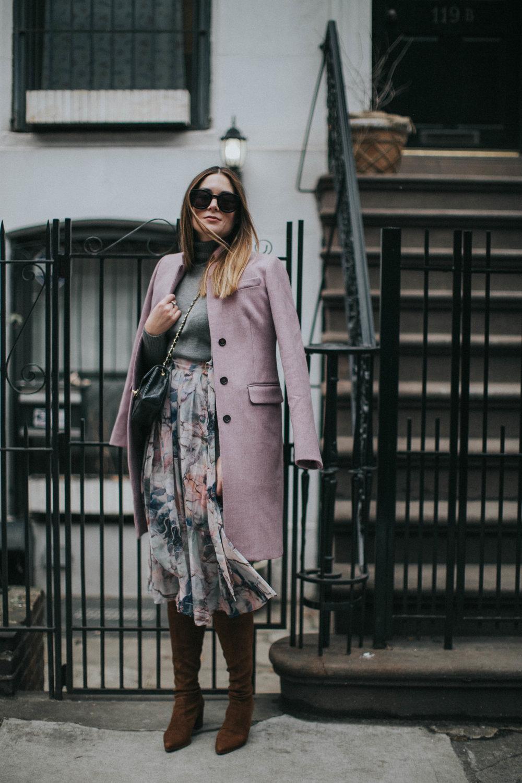 coat & turtuleneck  J Crew  | skirt  ASOS  | boots  Stuart Weitzman  | sunnies  Karen Walker