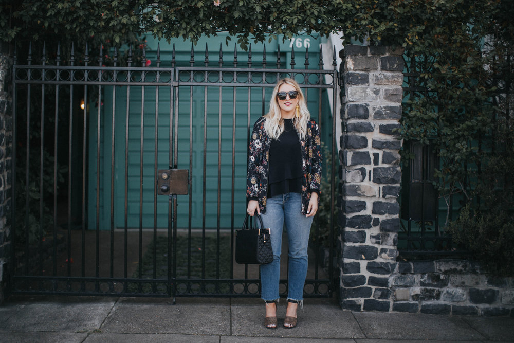jeans H&M | floral bomber ASOS | top ZARA | heels MADEWELL | earrings H&M | sunnies FREE PEOPLE | bag OLIVER BILOU