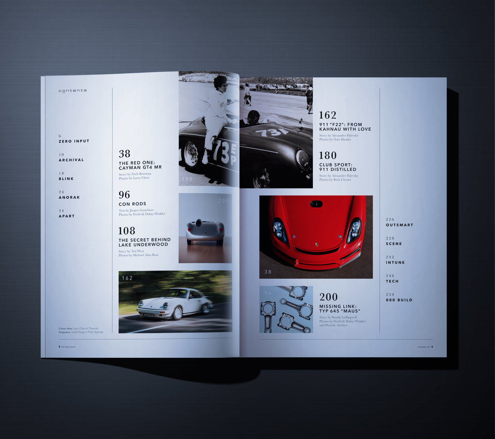 Full layout of Porsche's in magazine