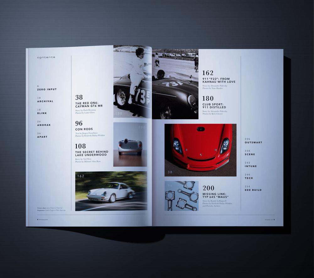 Full layout of Porsche's in magazine