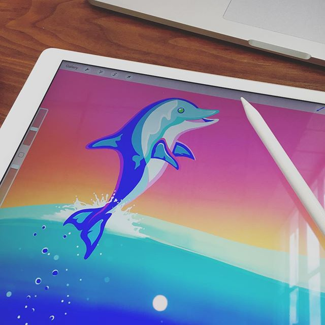 Sometimes I just let go and draw Lisa Frank dolphins. #lisafrank #applepencil #ipadpro #procreate #dolphin