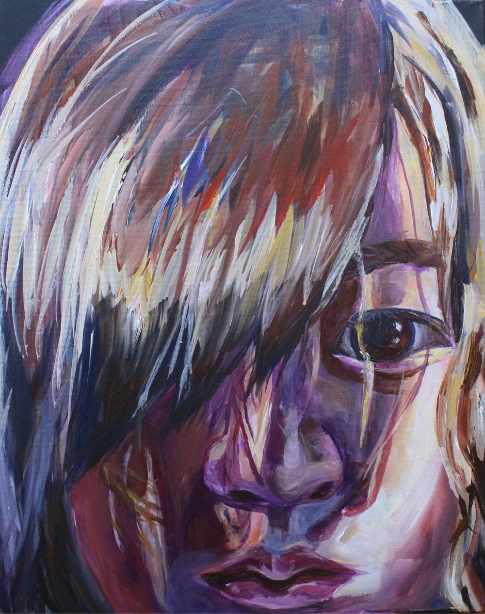 The painting is a portrait of a person staring into the camera as the sun creates interesting shadows on her face. Purples browns and yellows are used to color her hair. One eye is shielded by the bangs that cover half of her unsmiling face as the rights cheek is illuminated by white light.