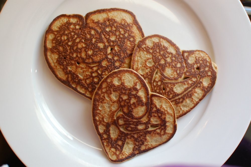 Heart shaped pancakes!