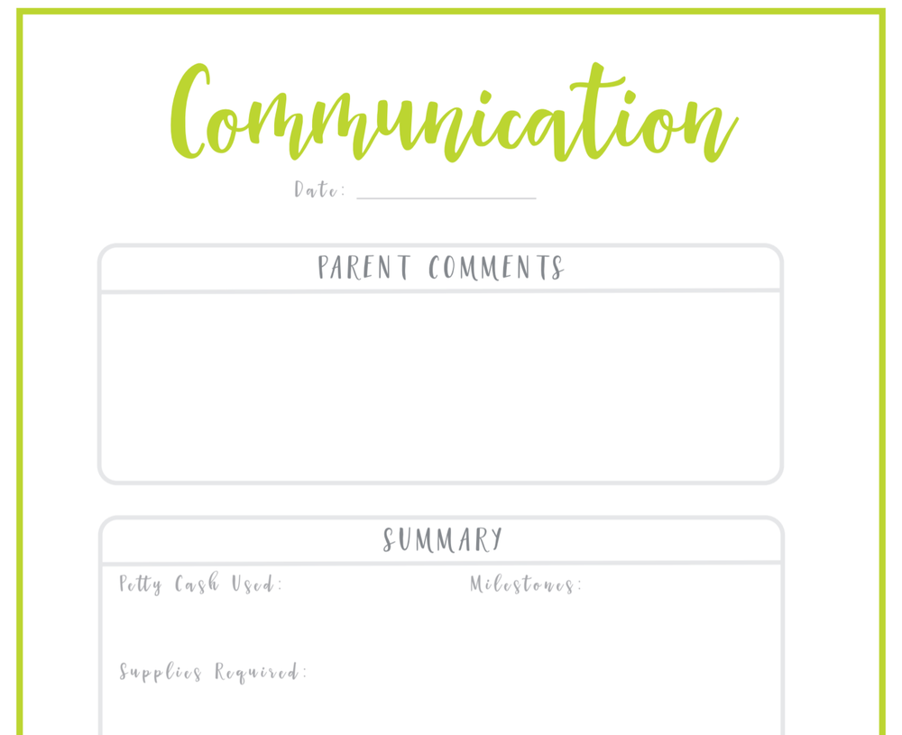 mini communication nanny log