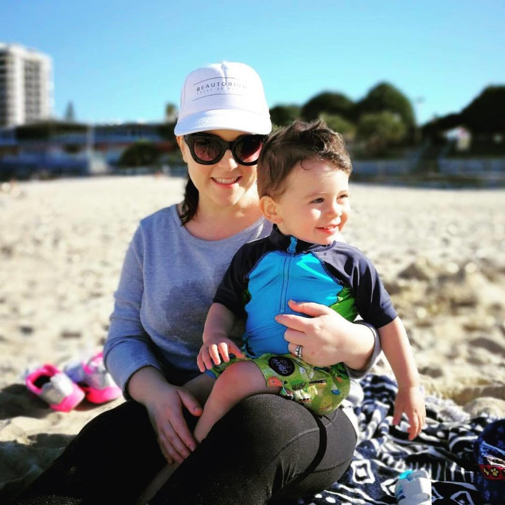 Angela and her Son Emilio at the beach