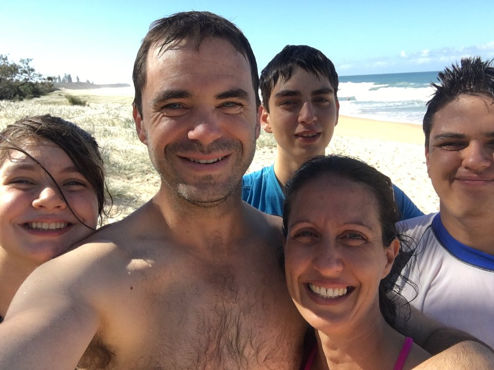 Kate and her beautiful family at the beach