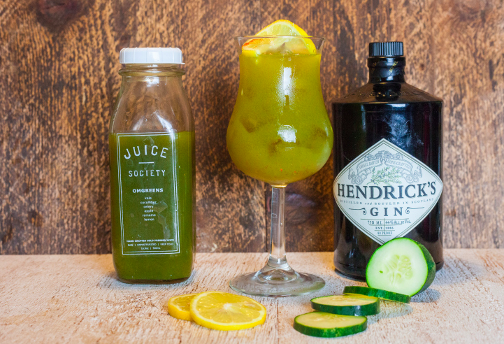Gin & Juiced 3 ounces of Juice Society OMGreens 1 and ½ ounce of Hendrick's Gin ¼ ounce of Simple Syrup ¼ ounce of lemon juice Refreshing and nourishing in one tall glass. Add a small pinch of cayenne and shake to serve over ice with a twisted lemon wheel, or cucumber in the glass.