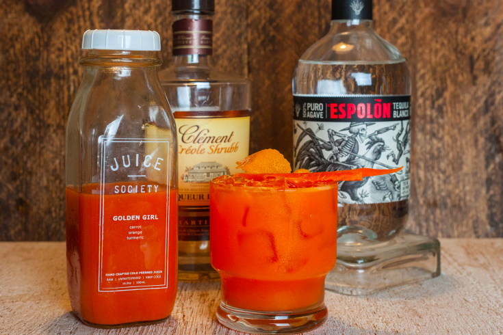 Golden Sunrise 3 ounces of Juice Society Golden Girl 1 ounce of Espolon Blanco Tequila ½ ounce of Clement Creole Shrubb The days of the layered sunrise are history when this orange beauty is poured up. Add a small pinch of salt and shake to serve over ice. Garnish with 2 carrot spears.